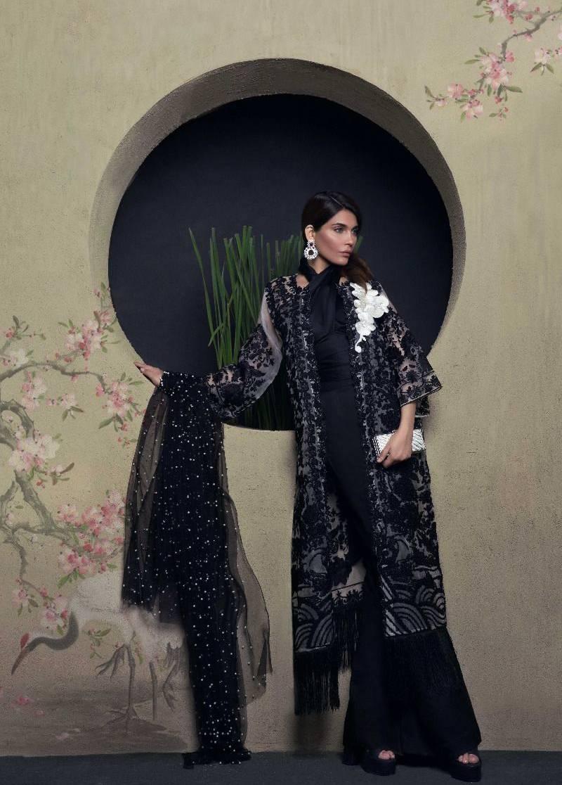 Sana Safinaz Embroidered Chiffon Unstitched 3 Piece Suit SS17L 4B