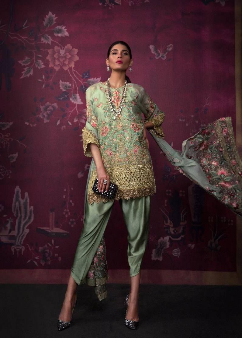 Sana Safinaz Embroidered Chiffon Unstitched 3 Piece Suit SS17L 5A