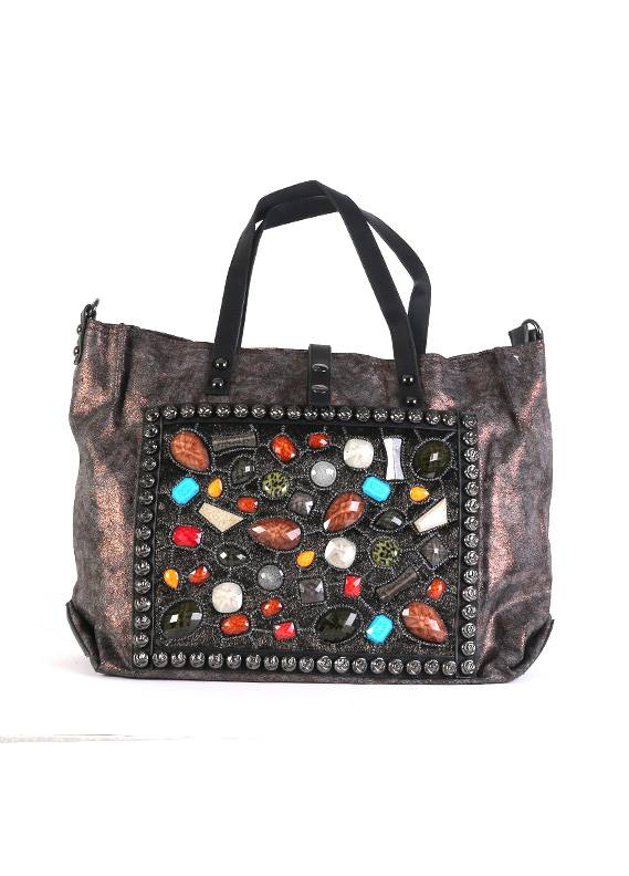 Velvet Tote  Handbags for Women - Grey with Leather Pattern Keyring