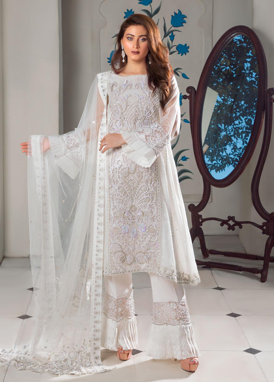 Surmai Luxury Pret Embroidered Organza 3 Piece Dress SLP-03