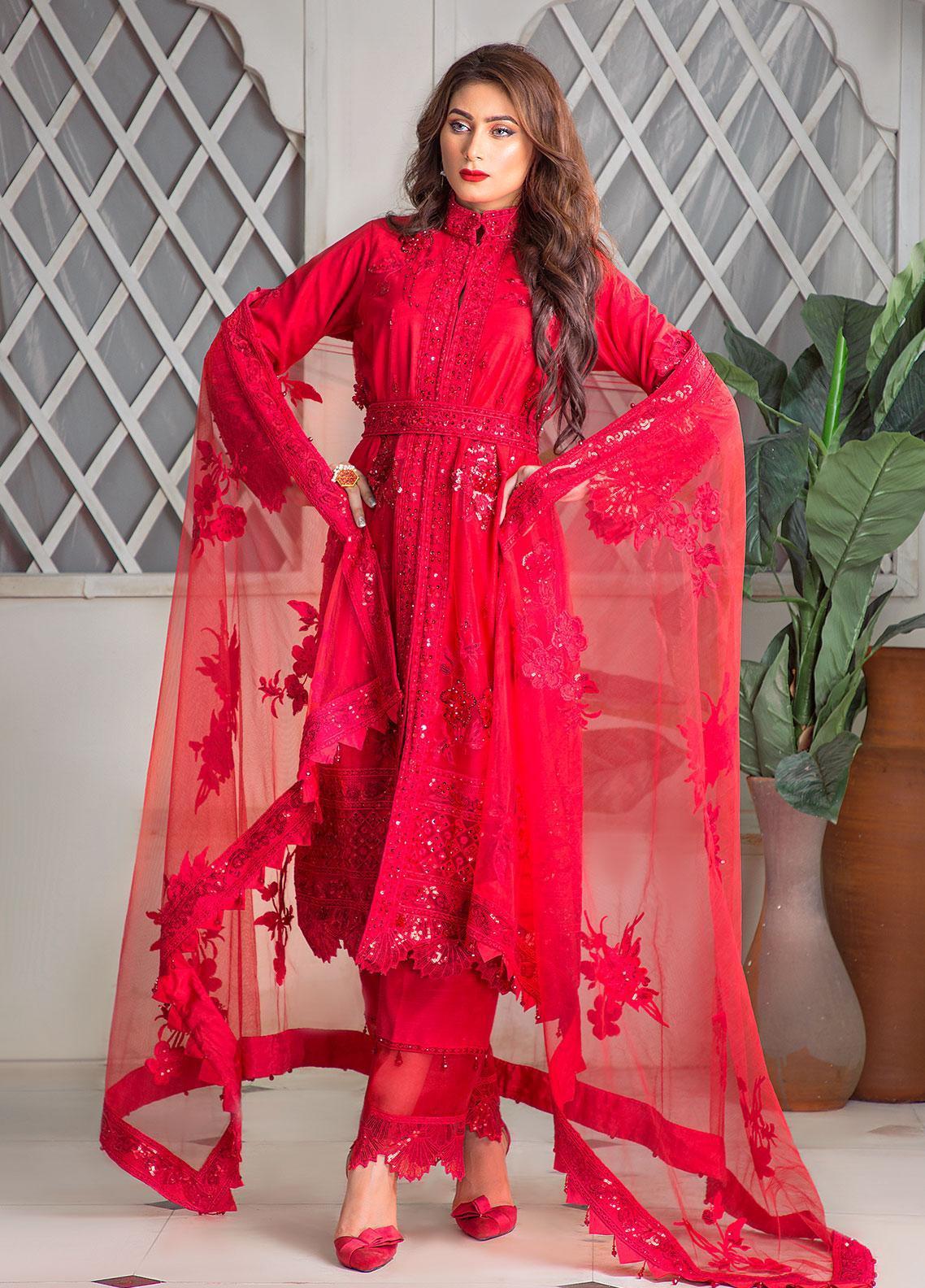 Surmai Luxury Pret Embroidered Net 3 Piece Dress SLP-07
