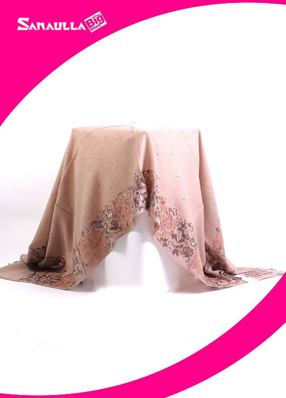 Beige Embroidered Pashmina Shawls for women - SW 220