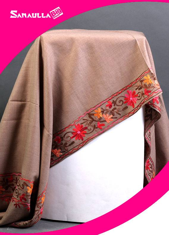 Beige Embroidered Pashmina Shawls for ladies - SW 225