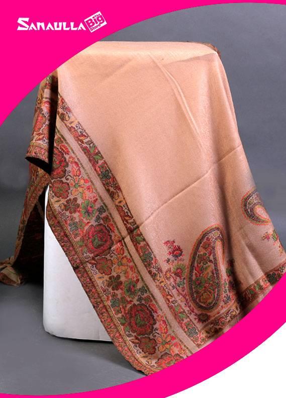 Fawn Printed Jamawar Pashmina Shawls for women - SW 226