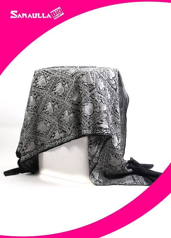 Black Embroidered Pashmina Shawls for ladies - SW 230