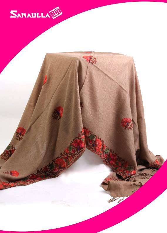 Fawn Embroidered Pashmina Shawls for women - SW 231