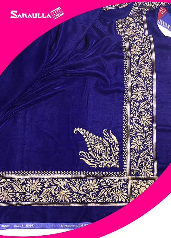 Blue Embroidered Velvet Shawls for ladies - SW 232