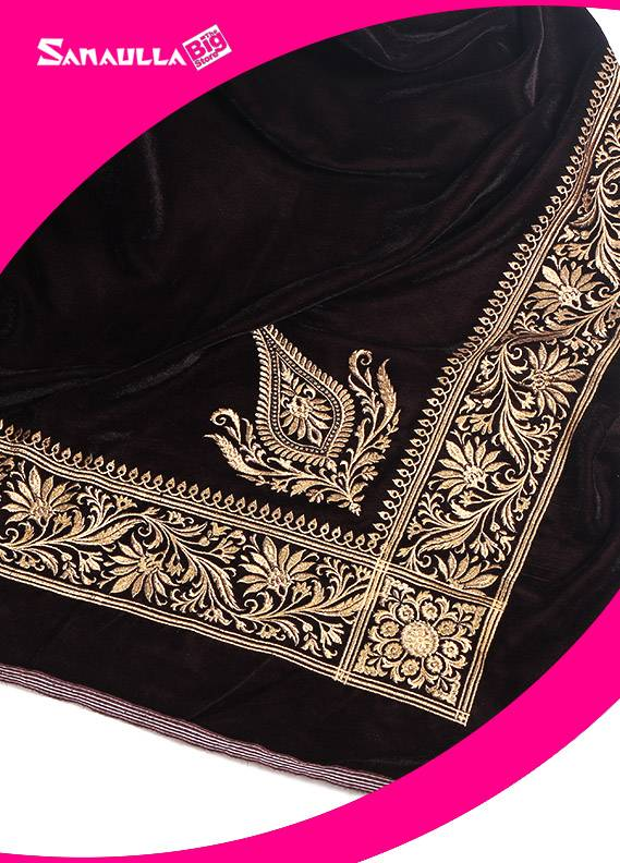 Brown Embroidered Velvet Shawls for ladies - SW 236