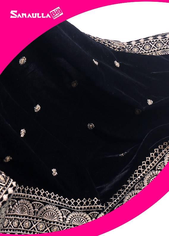Black Embroidered Velvet Shawls for ladies - SWG 1003