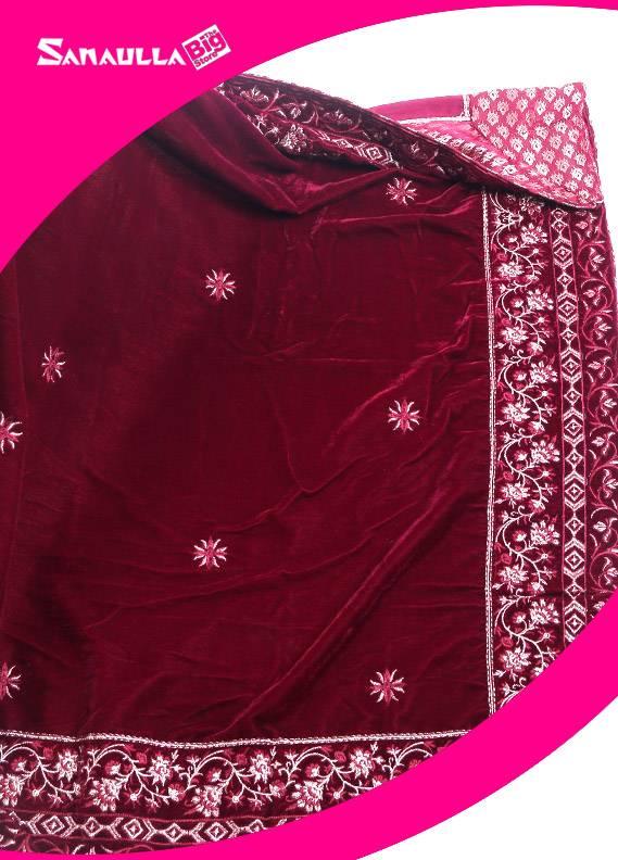 Maroon Embroidered Velvet Shawls for women - SWG 1004