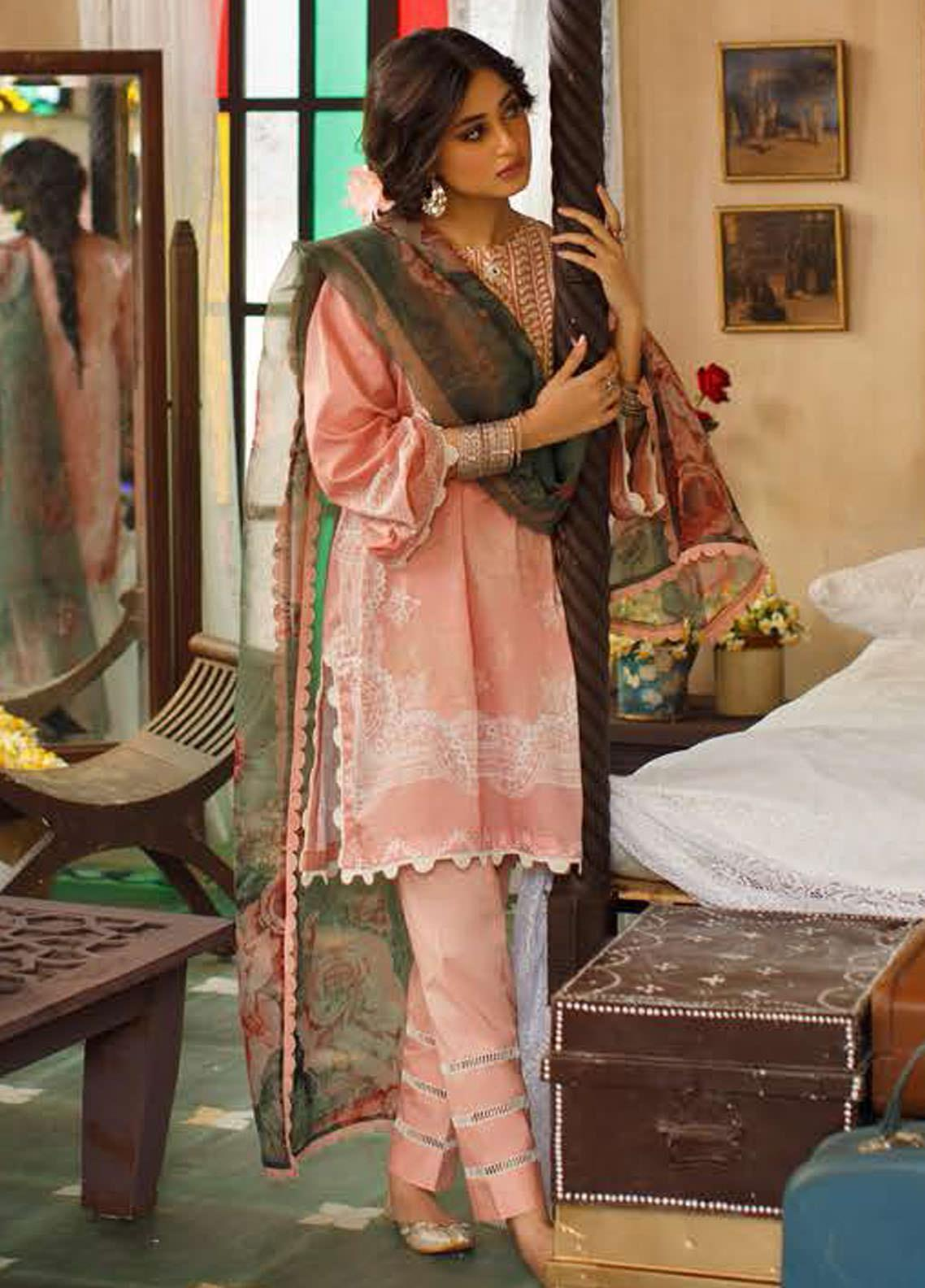 Tabeer by Cross Stitch Embroidered Lawn Suits Unstitched 3 Piece CS21T 10-ADORN ROSE - Summer Collection