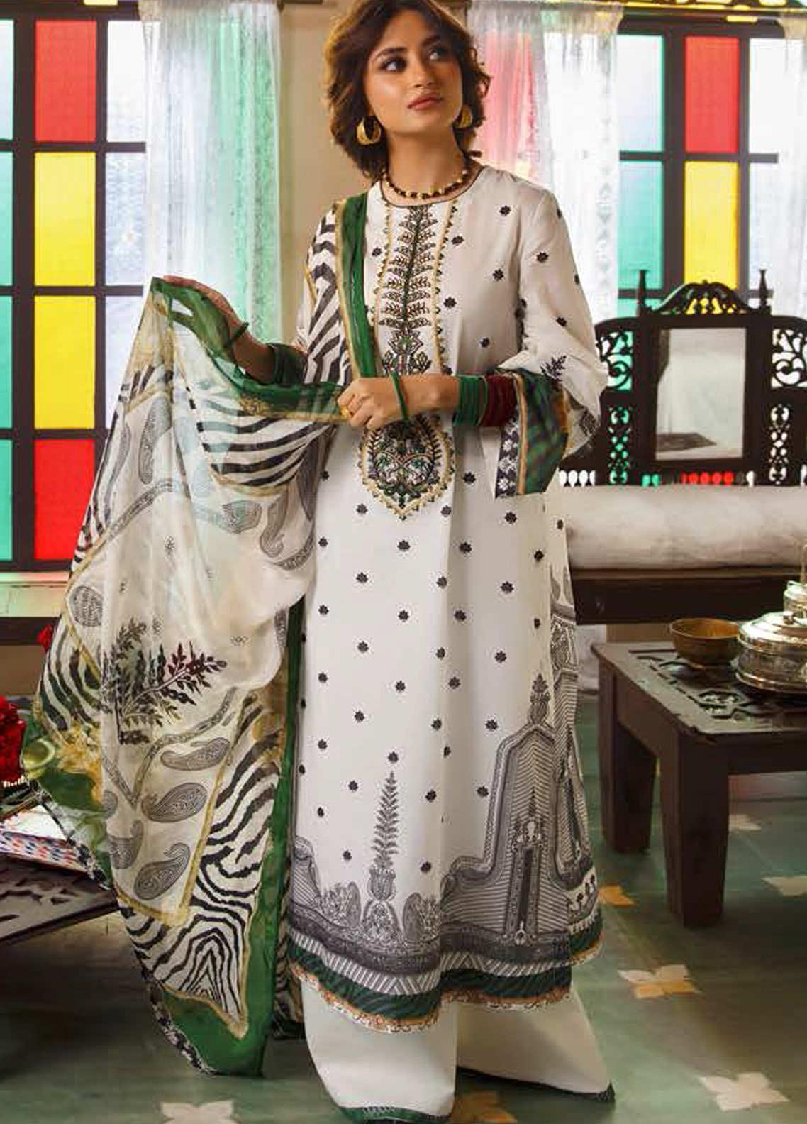 Tabeer by Cross Stitch Embroidered Lawn Suits Unstitched 3 Piece CS21T 11-ANTIQUE JADE - Summer Collection