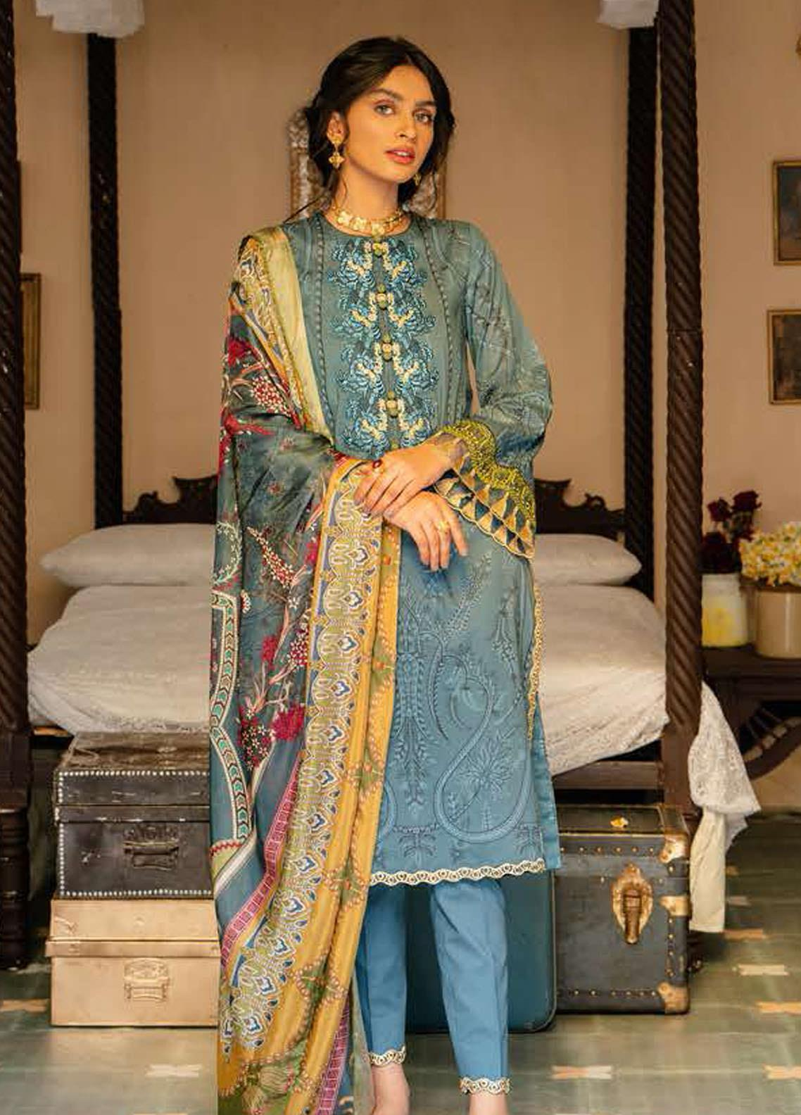 Tabeer by Cross Stitch Embroidered Lawn Suits Unstitched 3 Piece CS21T 12-AZURE HYSTERIA - Summer Collection