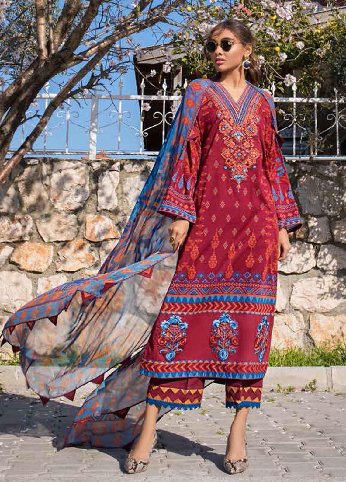 Tahra by Zainab Chottani Embroidered Lawn Suits Unstitched 3 Piece TZC21L 10A RUSTIC GLAM - Summer Collection