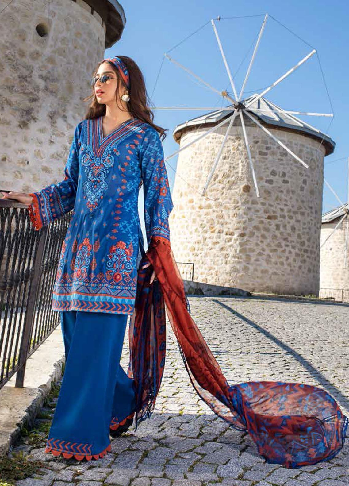 Tahra by Zainab Chottani Embroidered Lawn Suits Unstitched 3 Piece TZC21L 10B RUSTIC GLAM - Summer Collection