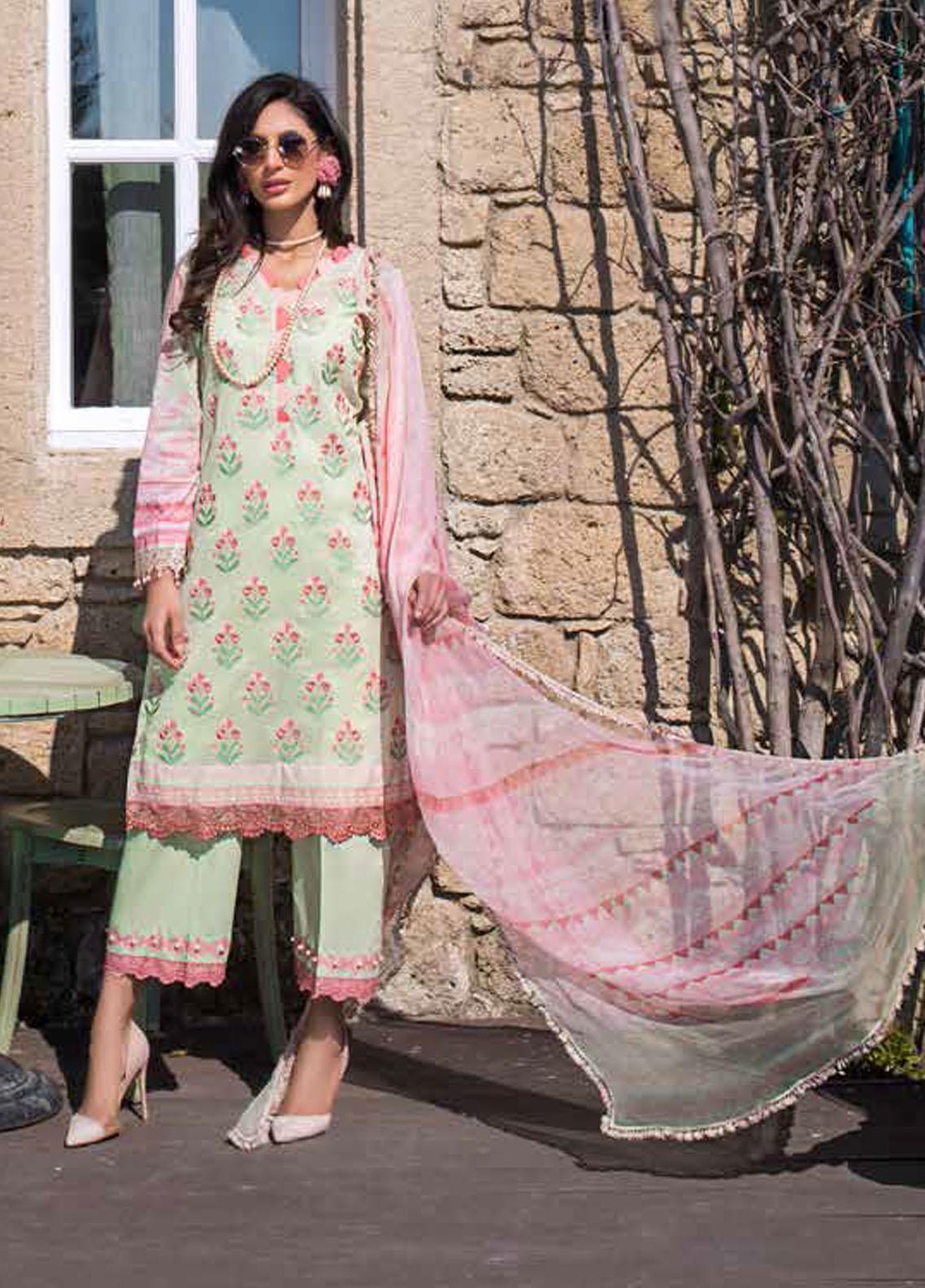 Tahra by Zainab Chottani Embroidered Lawn Suits Unstitched 3 Piece TZC21L 2A MYSTIC ROSE - Summer Collection