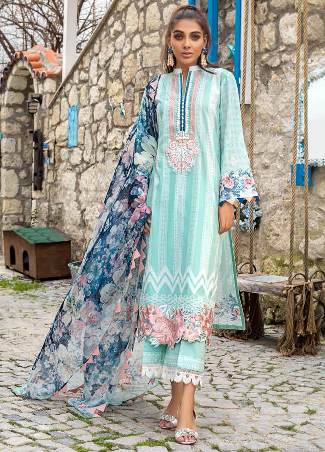Tahra by Zainab Chottani Embroidered Lawn Suits Unstitched 3 Piece TZC21L 3B SEA PEARLS - Summer Collection