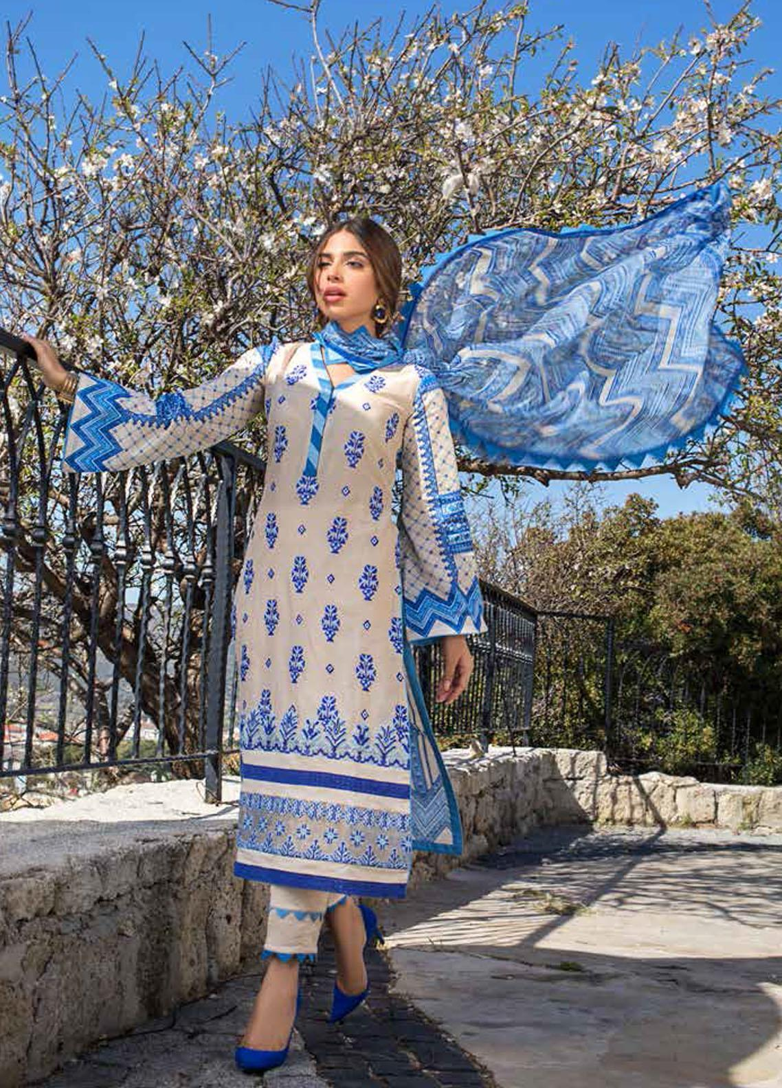 Tahra by Zainab Chottani Embroidered Lawn Suits Unstitched 3 Piece TZC21L 4A BLOOMING BLUES - Summer Collection