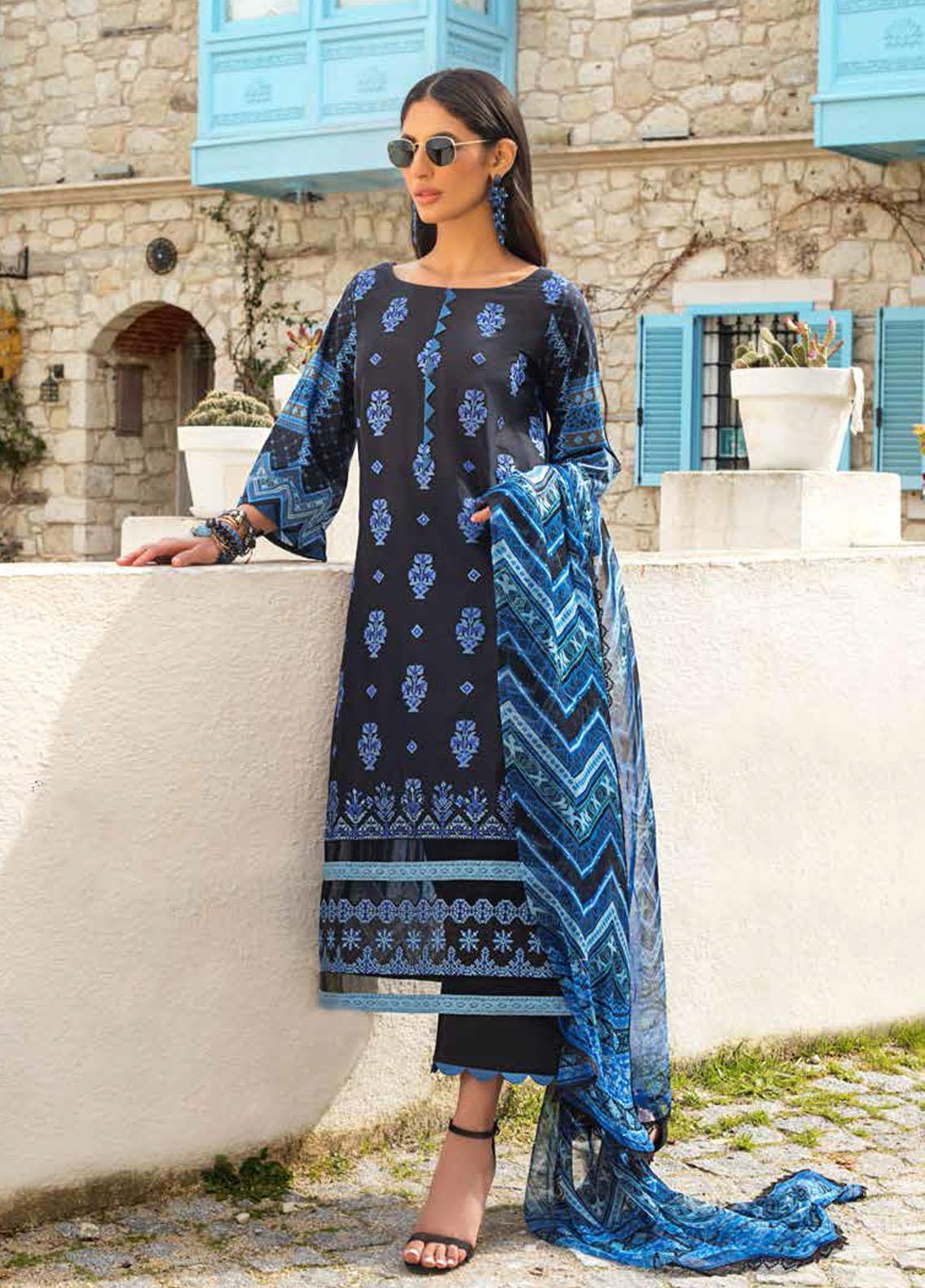 Tahra by Zainab Chottani Embroidered Lawn Suits Unstitched 3 Piece TZC21L 4B BLOOMING BLUES - Summer Collection