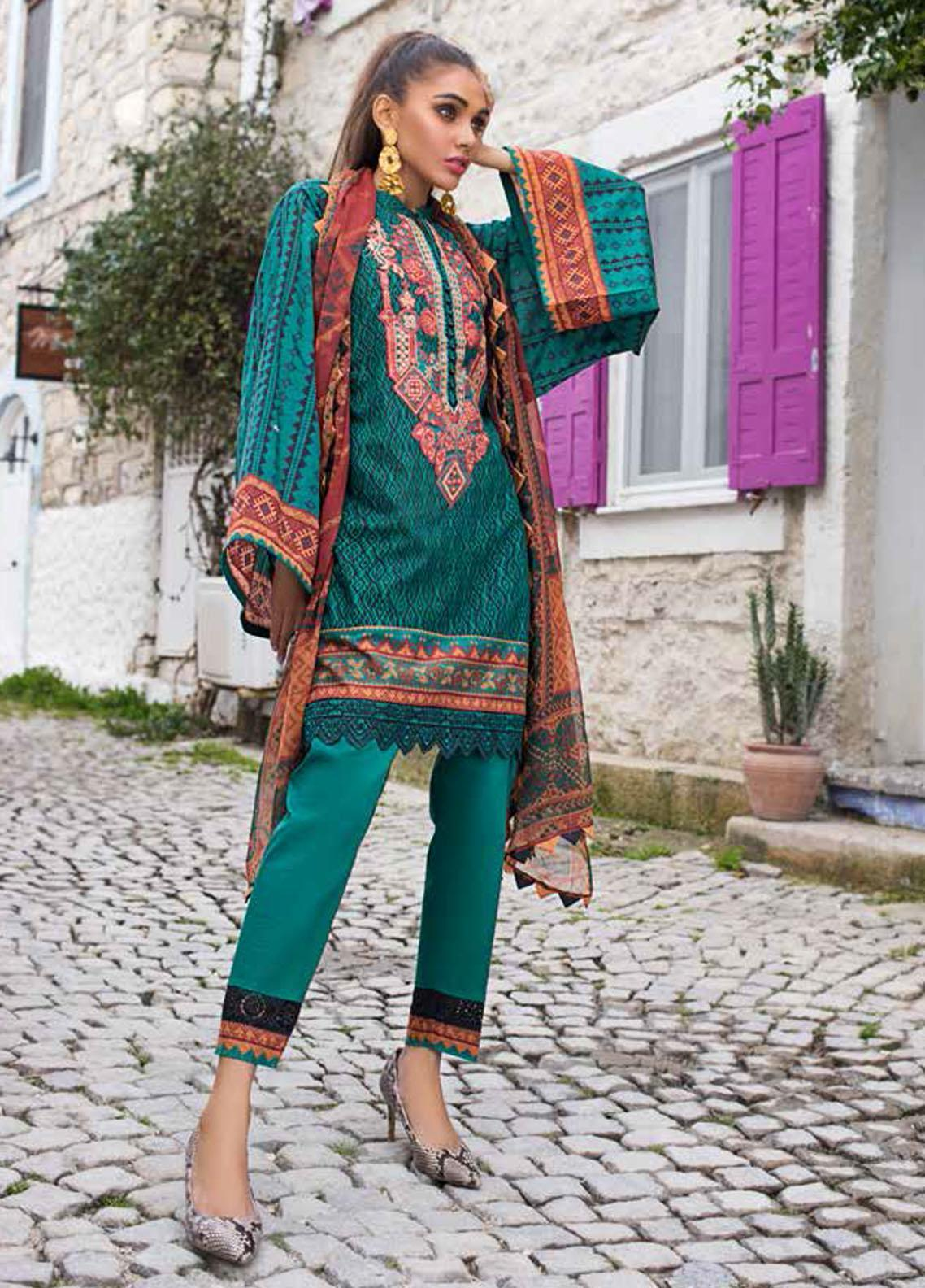 Tahra by Zainab Chottani Embroidered Lawn Suits Unstitched 3 Piece TZC21L 5A EMERALD ELEGANCE - Summer Collection