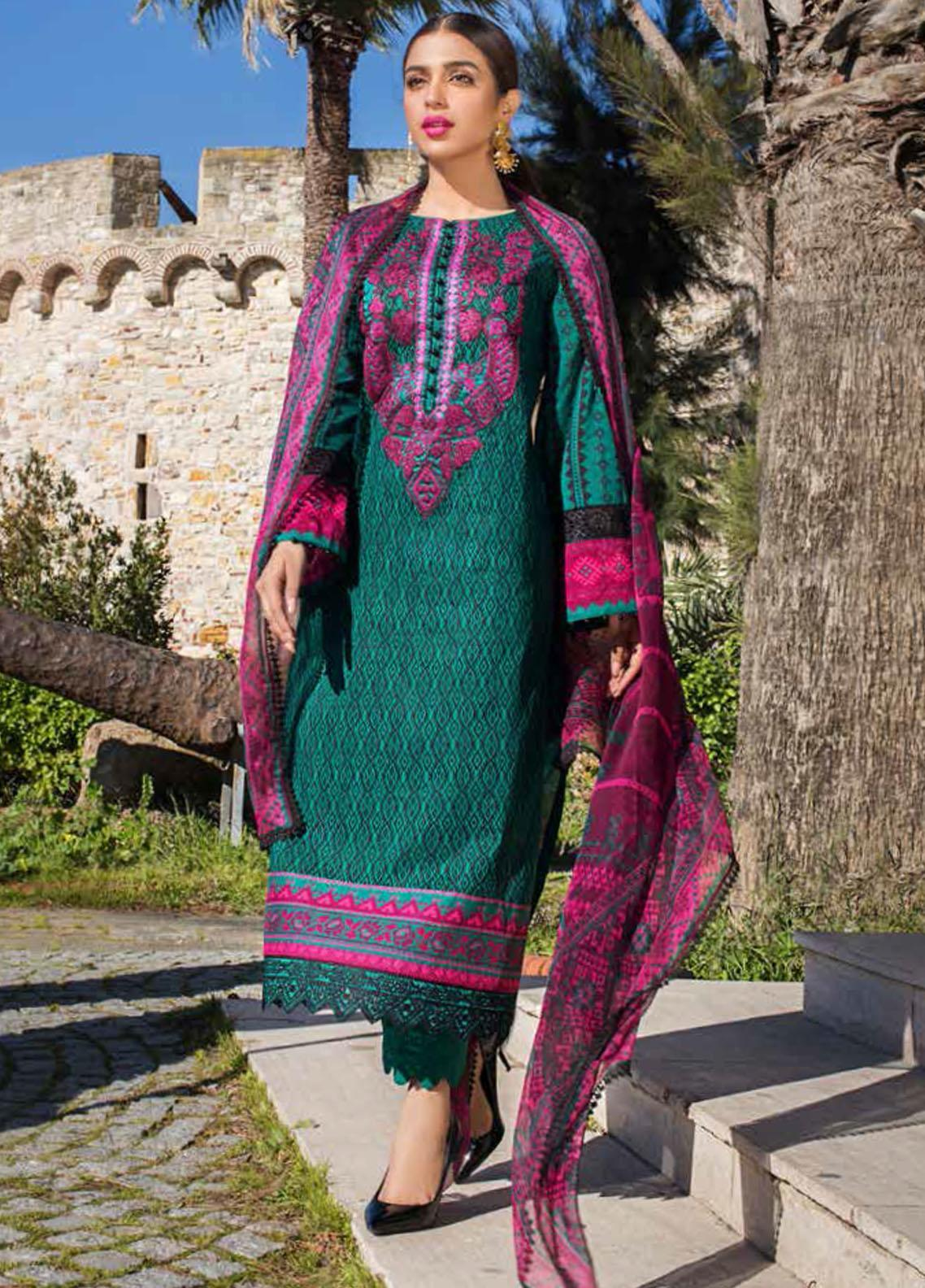 Tahra by Zainab Chottani Embroidered Lawn Suits Unstitched 3 Piece TZC21L 5B EMERALD ELEGANCE - Summer Collection