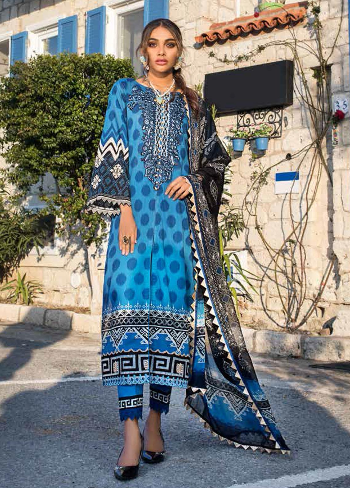 Tahra by Zainab Chottani Embroidered Lawn Suits Unstitched 3 Piece TZC21L 6B DOTTED CRUSH - Summer Collection