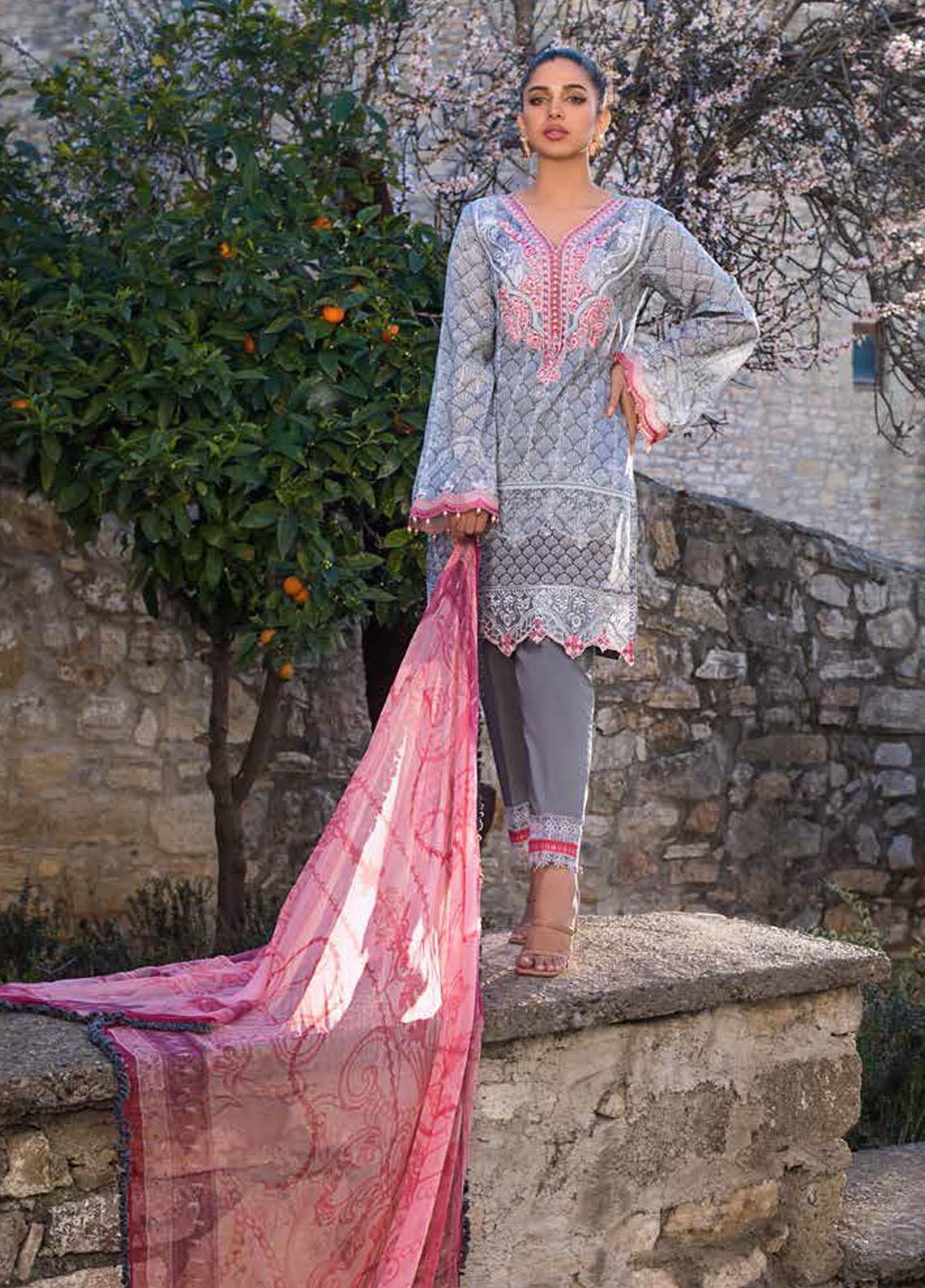 Tahra by Zainab Chottani Embroidered Lawn Suits Unstitched 3 Piece TZC21L 8A SUMMER GLORY - Summer Collection