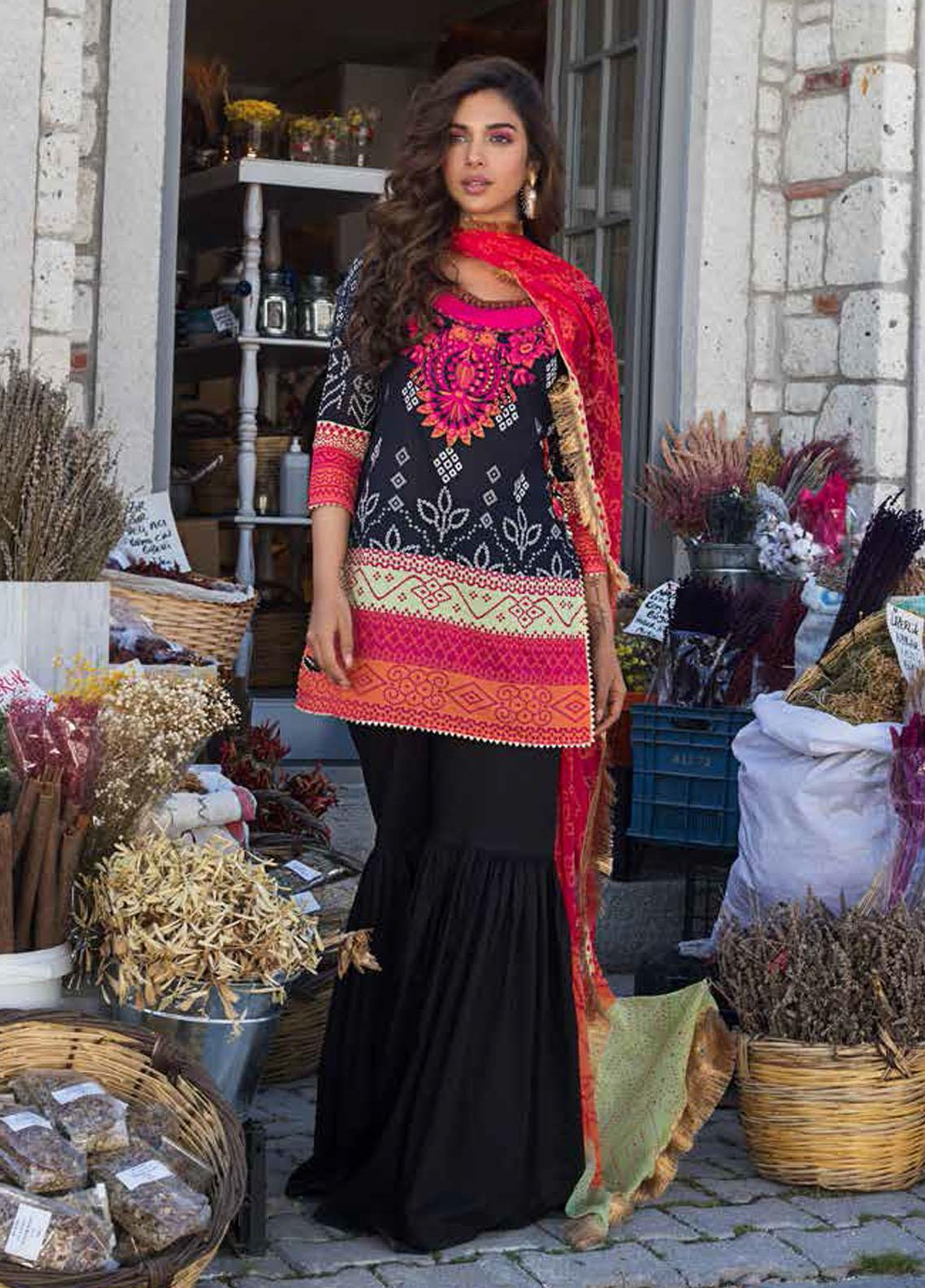 Tahra by Zainab Chottani Embroidered Lawn Suits Unstitched 3 Piece TZC21L 9A TRADITIONAL BLACK - Summer Collection