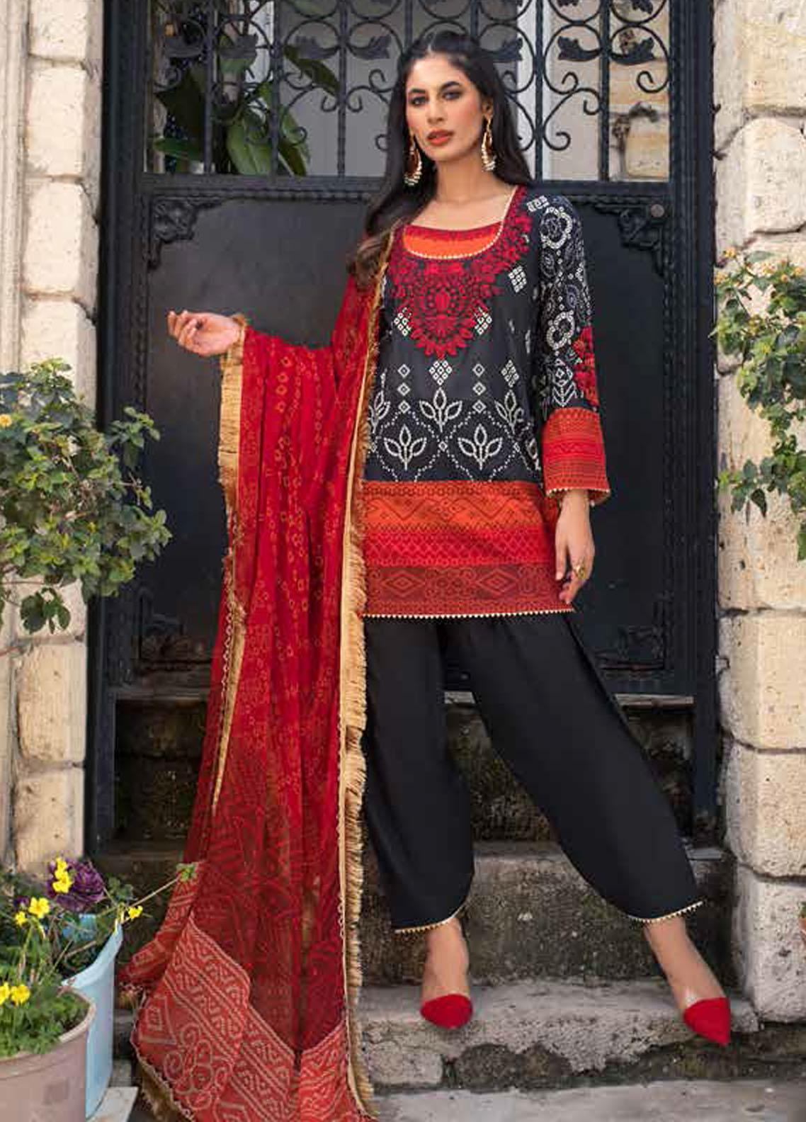 Tahra by Zainab Chottani Embroidered Lawn Suits Unstitched 3 Piece TZC21L 9B TRADITIONAL BLACK - Summer Collection