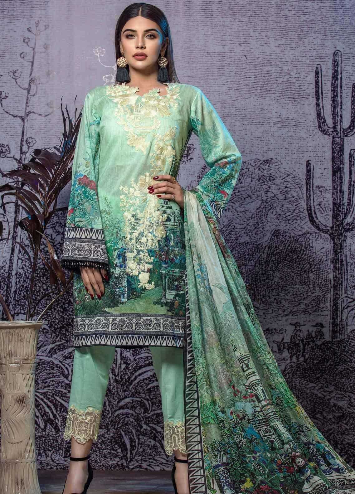 Tatheer Embroidered Lawn Unstitched 3 Piece Suit THT19L 07 - Spring / Summer Collection