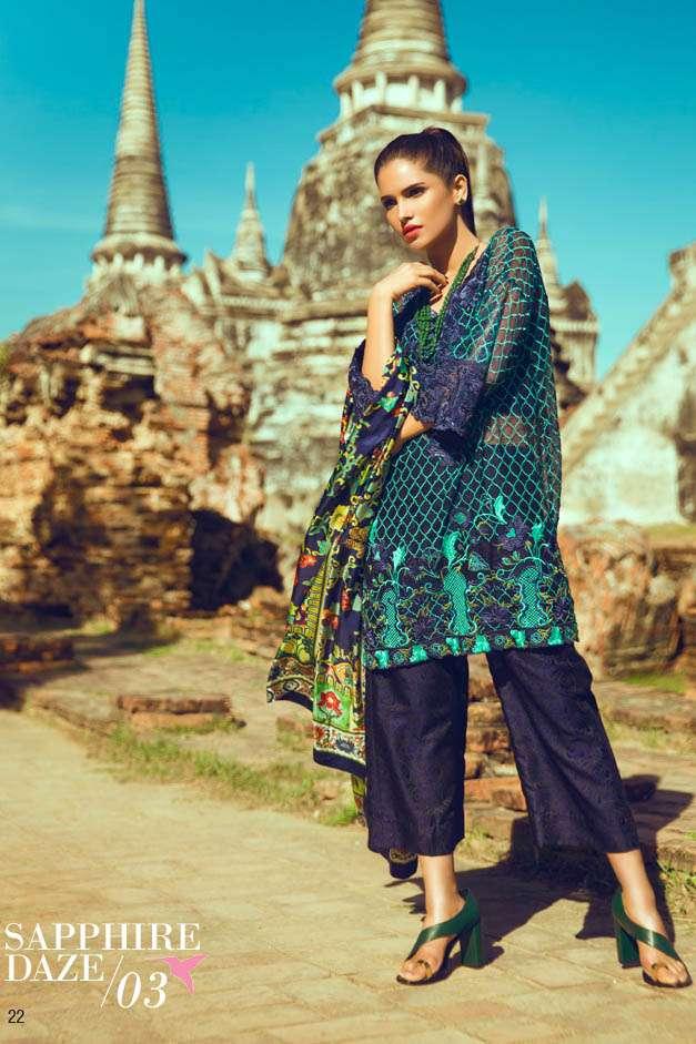 Tena Durrani Embroidered Silk Unstitched 3 Piece Suit TD16W Sapphire Daze