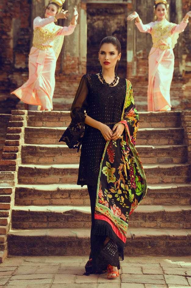 Tena Durrani Embroidered Silk Unstitched 3 Piece Suit TD16W Viola