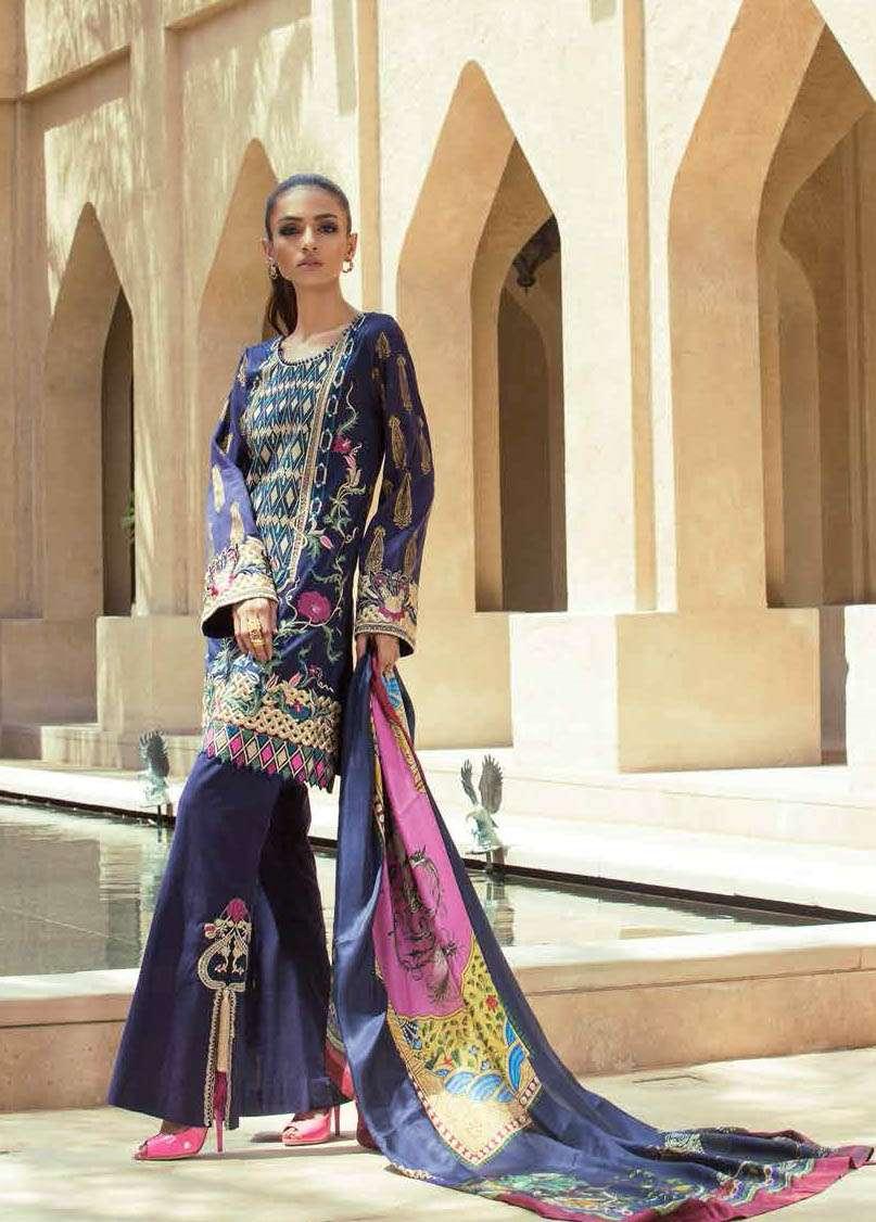 Tena Durrani Embroidered Silk Unstitched 3 Piece Suit TD17W 5A