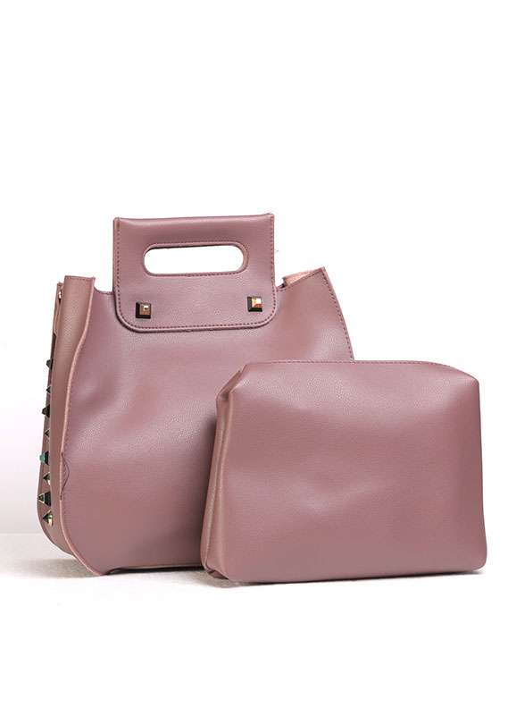 PU Leather Tote  Handbags for Women - Tea Pink with  , Keyring
