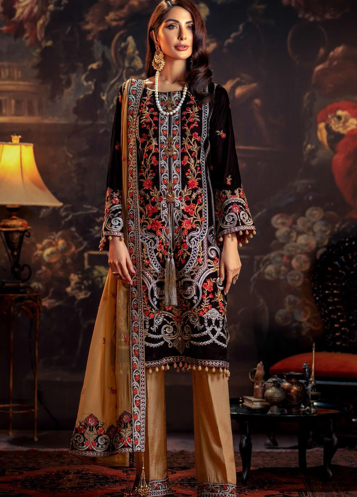 Tehzeeb by Mohagni Embroidered Velvet Unstitched 3 Piece Suit MO20TV 04 - Winter Collection