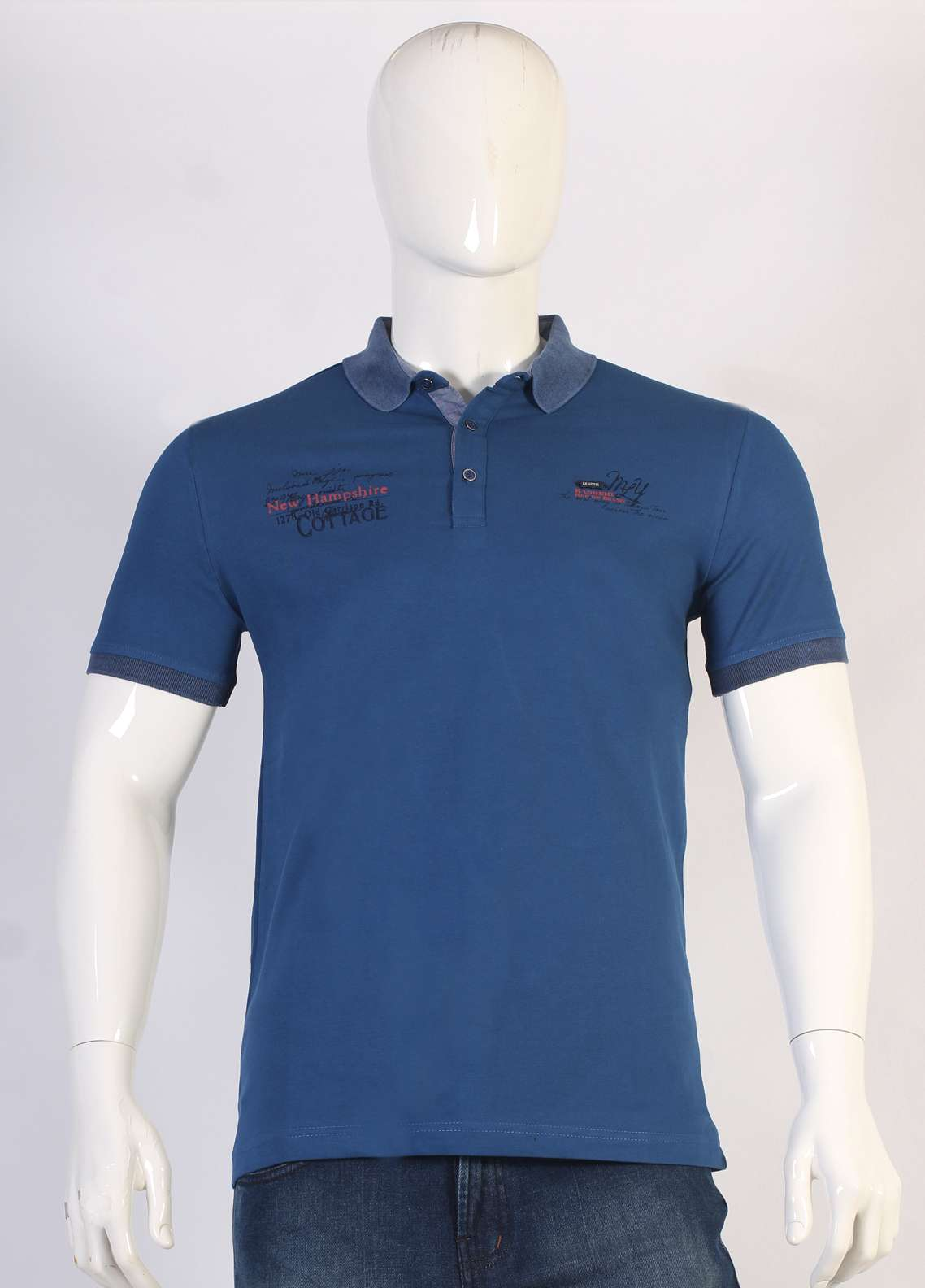 Sanaulla Exclusive Range Jersey Polo Men T-Shirts - Blue TKM18S 366-04