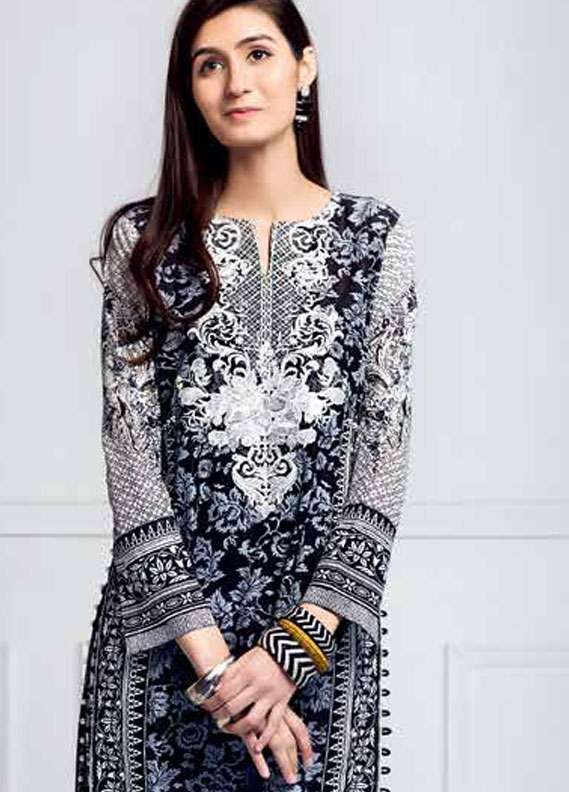 Gul Ahmed Embroidered Lawn Unstitched 2 Piece Suit GA18L TL-101B - Essential Collection