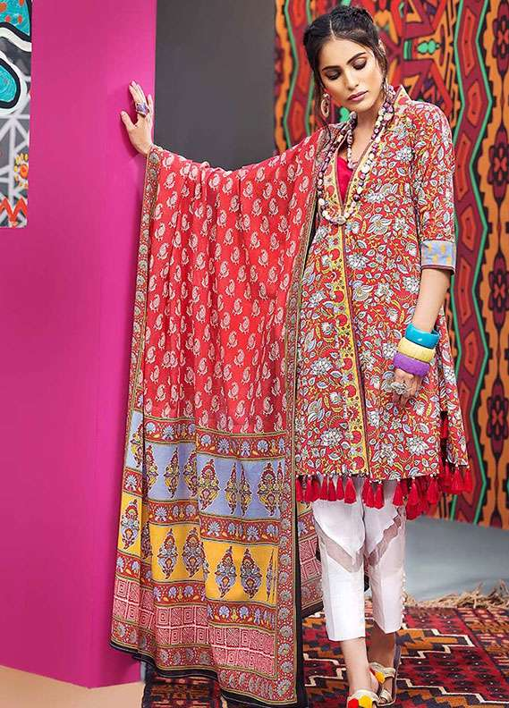 Gul Ahmed Printed Lawn Unstitched 2 Piece Suit GA18L TL-104A - Essential Collection