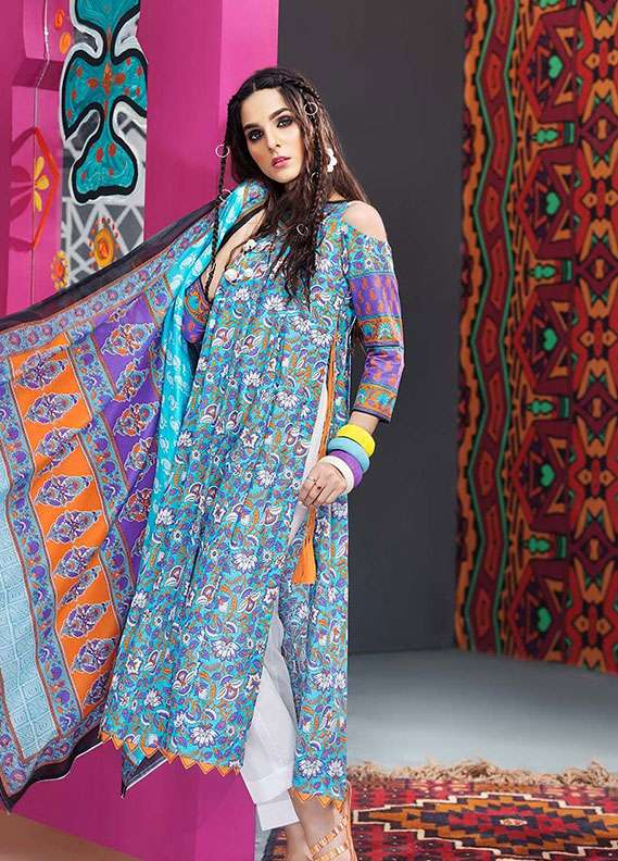 Gul Ahmed Printed Lawn Unstitched 2 Piece Suit GA18L TL-104B - Essential Collection
