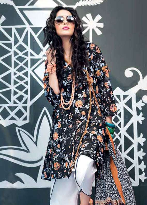 Gul Ahmed Printed Lawn Unstitched 2 Piece Suit GA18L TL-106A - Essential Collection