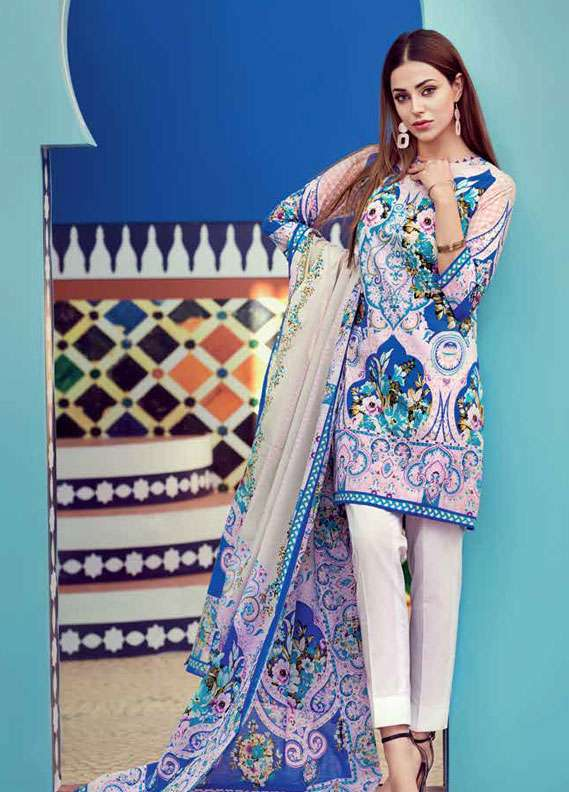 Gul Ahmed Printed Lawn Unstitched 2 Piece Suit GA18L TL-112A - Essential Collection