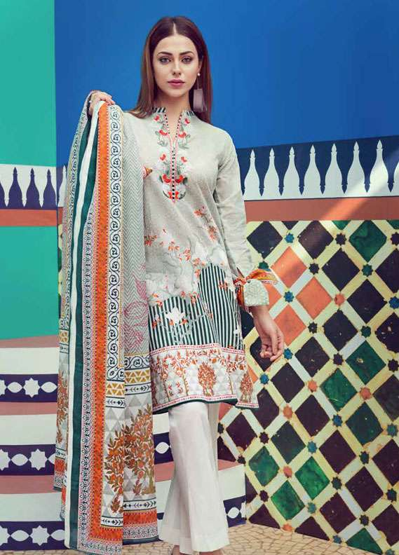 Gul Ahmed Embroidered Lawn Unstitched 2 Piece Suit GA18L TL-114A - Essential Collection