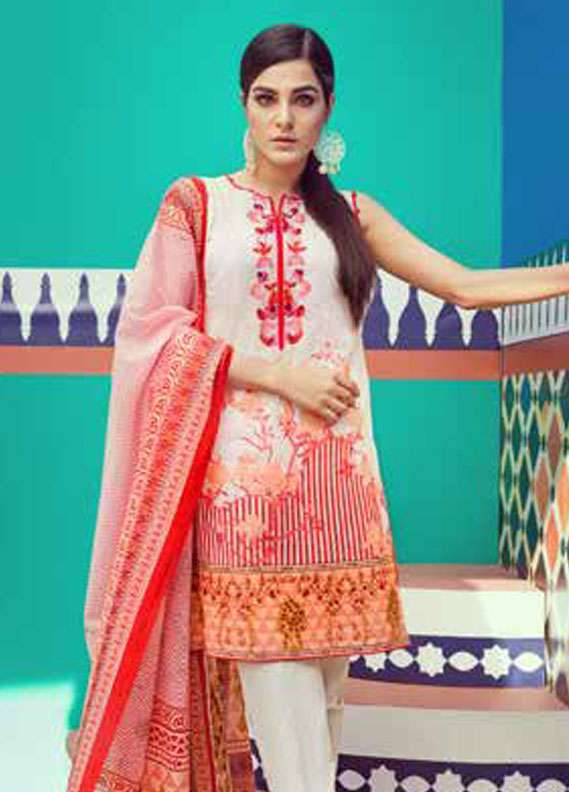 Gul Ahmed Embroidered Lawn Unstitched 2 Piece Suit GA18L TL-114B - Essential Collection