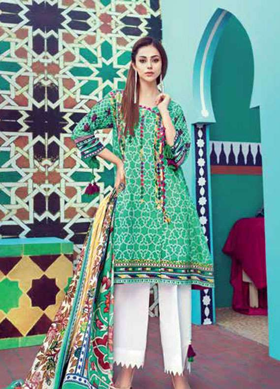 Gul Ahmed Embroidered Lawn Unstitched 2 Piece Suit GA18L TL-115A - Essential Collection