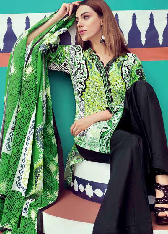 Gul Ahmed Printed Lawn Unstitched 2 Piece Suit GA18L TL-116A - Essential Collection