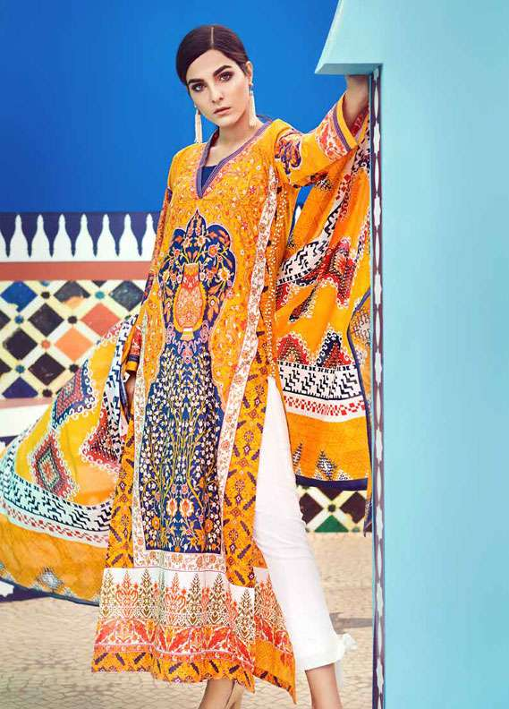 Gul Ahmed Printed Lawn Unstitched 2 Piece Suit GA18L TL-116B - Essential Collection