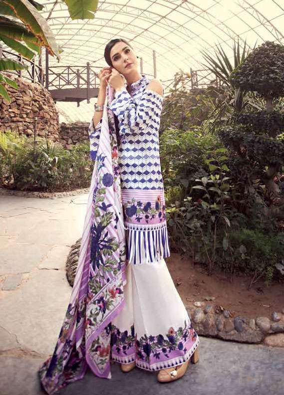 Gul Ahmed Embroidered Lawn Unstitched 2 Piece Suit GA18L TL-118A - Essential Collection