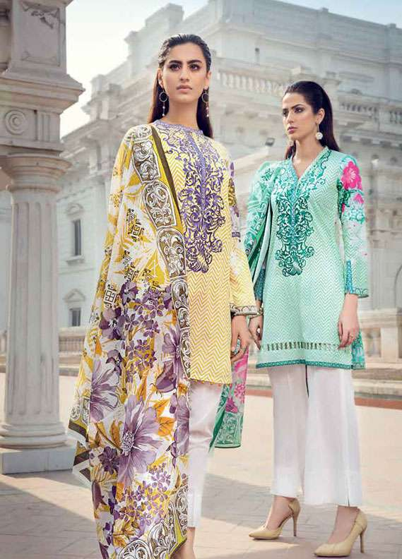 Gul Ahmed Embroidered Lawn Unstitched 2 Piece Suit GA18L TL-120B - Essential Collection