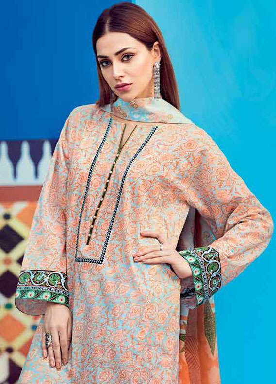 Gul Ahmed Printed Lawn Unstitched 2 Piece Suit GA18L TL-121A - Essential Collection