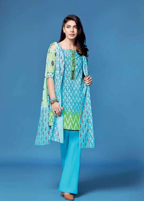 Gul Ahmed Printed Lawn Unstitched 2 Piece Suit GA18L TL-124A - Essential Collection